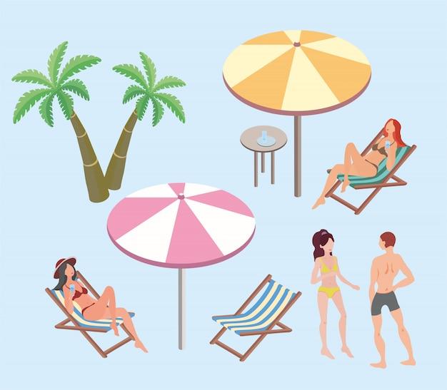 夏休み、ビーチリゾート。女性とビーチで休んでいる男性。ビーチパラソル、デッキチェア、ヤシの木。図。 Premiumベクター