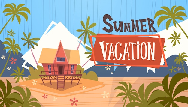 Summer vacation bungalow house on sea beach landscape beautiful banner seaside holiday Premium Vector