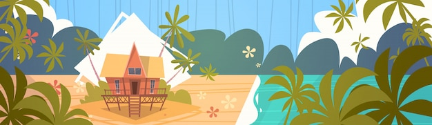 Summer vacation bungalow house on sea beach landscape beautiful seascape banner seaside holiday Premium Vector
