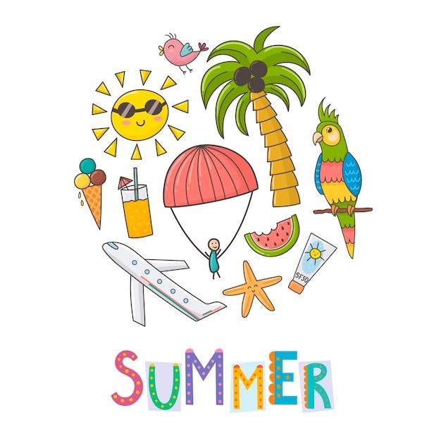 Summer vacation circle shape background. Premium Vector