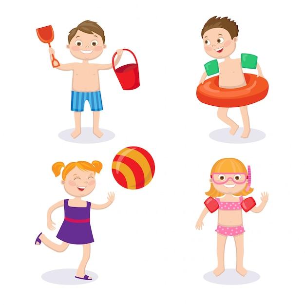 Summer vacation concept. happy kids wearing swimsuits having fun Premium Vector