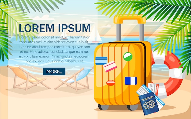 Summer vacation concept. yellow luggage, passport, ticket on summer beach.  style .  illustration on beach background with green palm leaves. place for your text Premium Vector