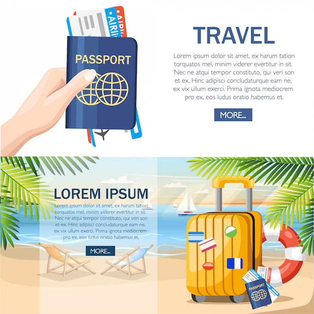 Summer vacation concept. yellow luggage, passport, ticket on summer beach.  style .  illustration on beach background with green palm leaves. web site page and mobile app design Premium Vector