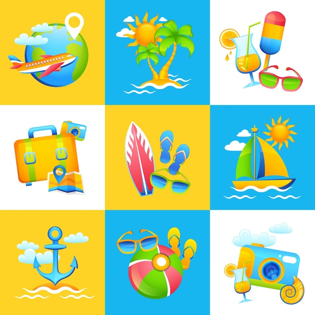 Summer vacation design concept Free Vector