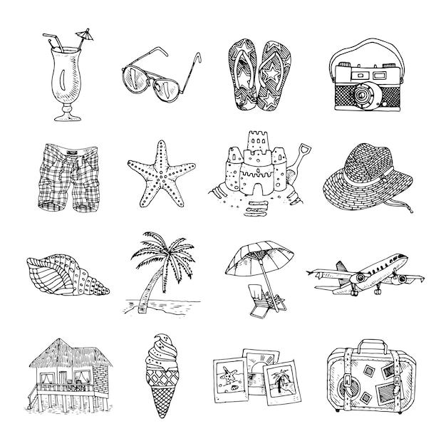 Summer vacation doodle sketch isons set Free Vector