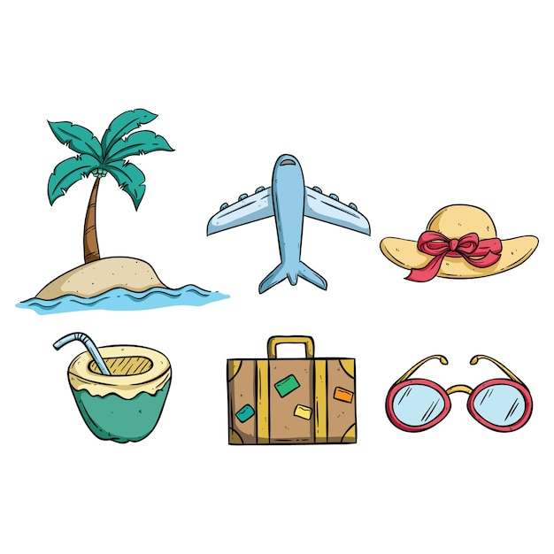 Summer Vacation Drawing With Suitcase Glasses Coconut Drink And Beach Premium Vector
