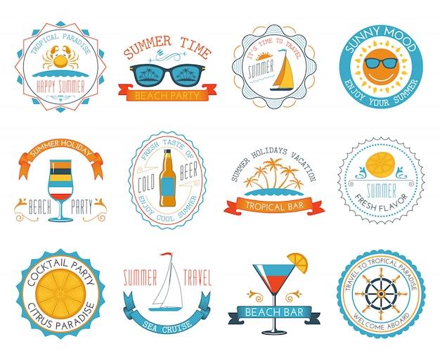 Summer vacation emblems stickers set flat Free Vector