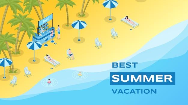 Summer vacation flat banner template Premium Vector