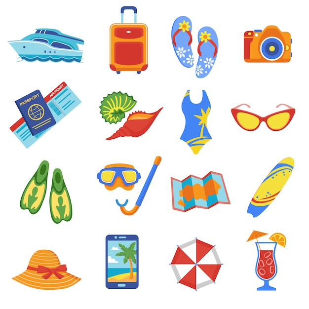 Summer vacation flat icons collection Free Vector