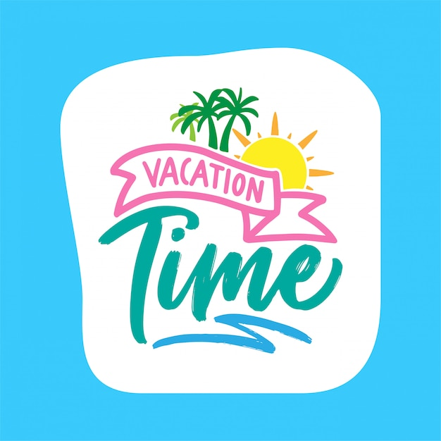 Summer vacation holiday typography poster design Premium Vector
