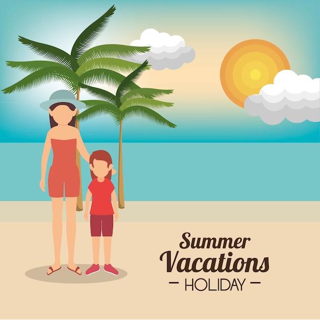 Summer vacation holiday Free Vector