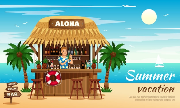 Summer vacation horizontal illustration Free Vector
