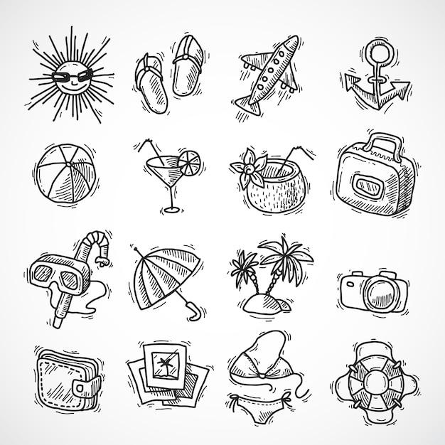 Summer vacation icon set Free Vector