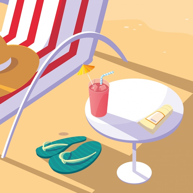 Summer and vacation icon set Premium Vector