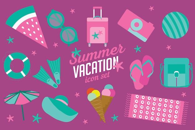 Summer vacation icon set Premium Vector