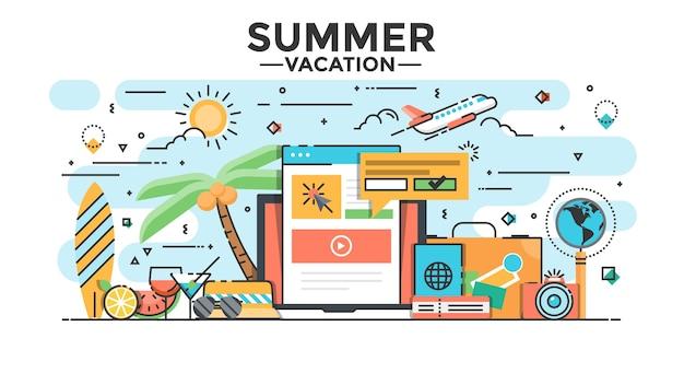 Summer vacation illustration Premium Vector