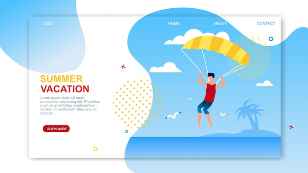 Summer vacation landing page with advertising text. Premium Vector
