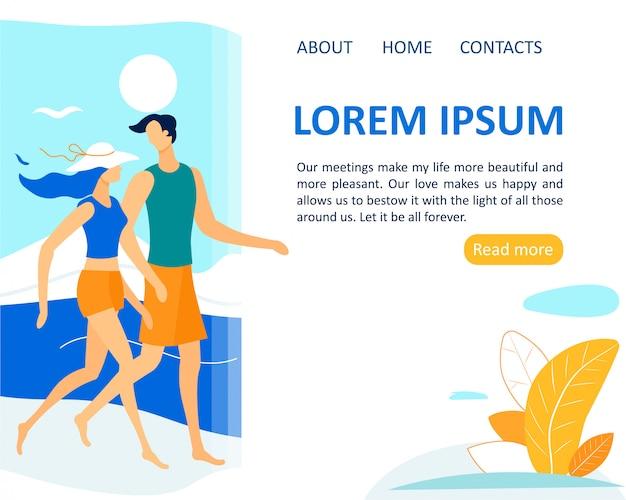 Summer vacation, leisure, holidays, happy couple Premium Vector