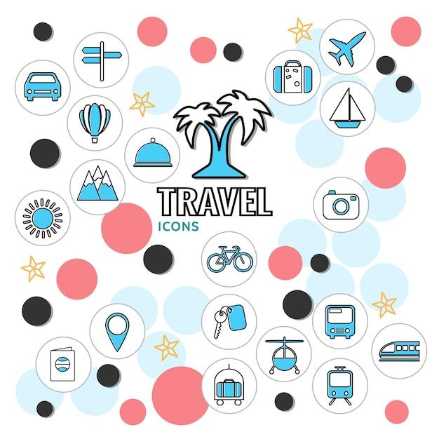 Collezione di icone di linea di vacanze estive con chiave di montagna sole borsa albero palma cartello veicoli Vettore gratuito