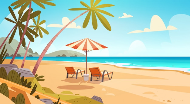 Summer vacation loungers on sea beach landscape beautiful seascape banner seaside holiday Premium Vector