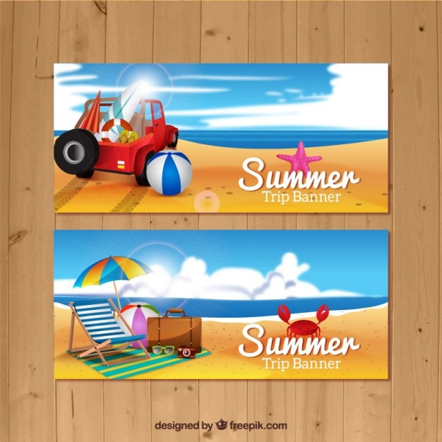 Summer vacation on the beach banners