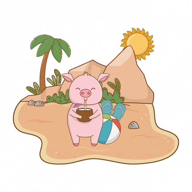 Summer vacation relax cartoon Free Vector