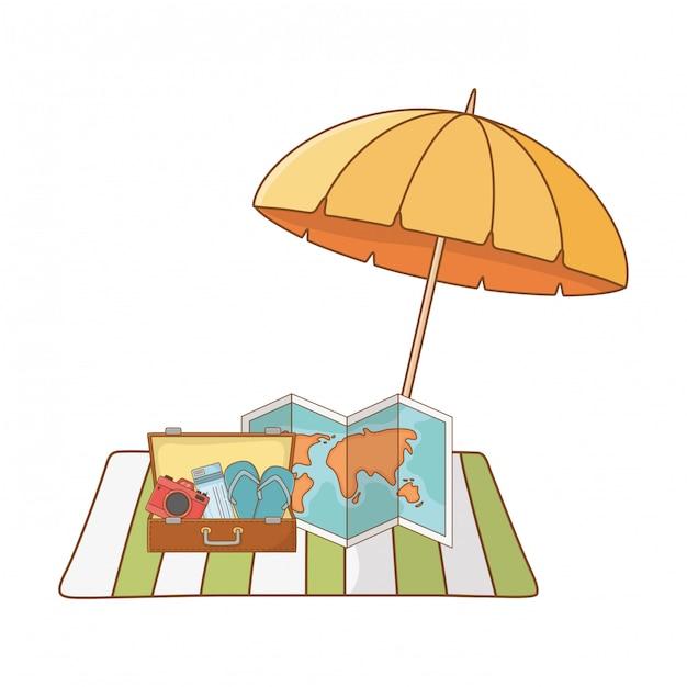 Summer vacation relax cartoon Free Vector