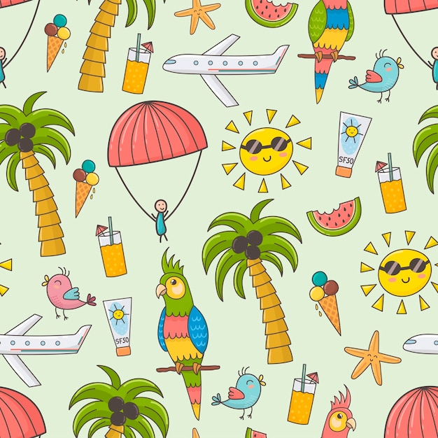 Summer vacation seamless pattern. cute summer time theme background Premium Vector