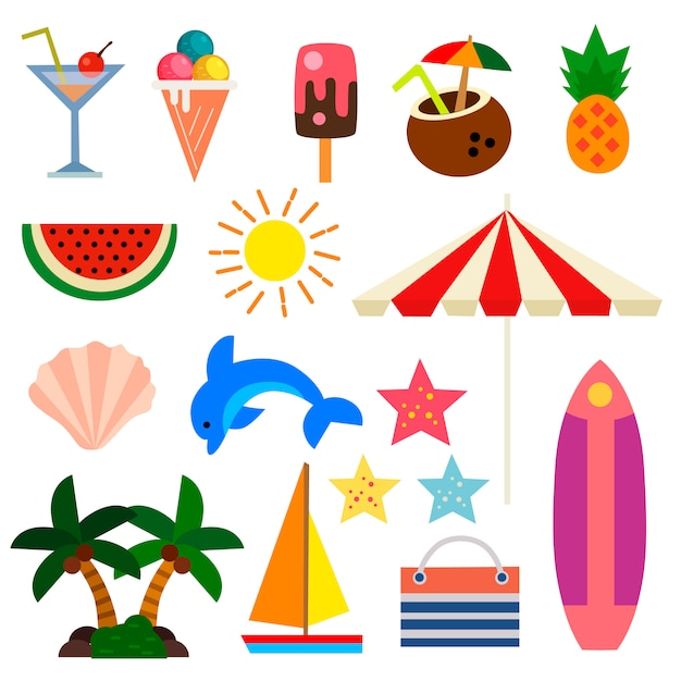 Summer vacation set element flat illustration Premium Vector