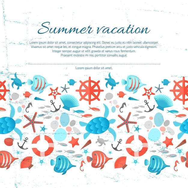 Testo di vacanze estive su sfondo di carta grunge con illustrazioni marine colorate Vettore gratuito