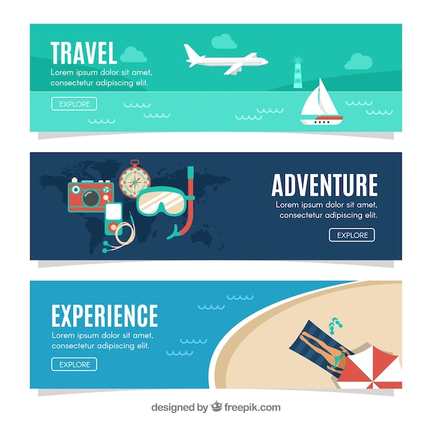 Summer vacation travel banners