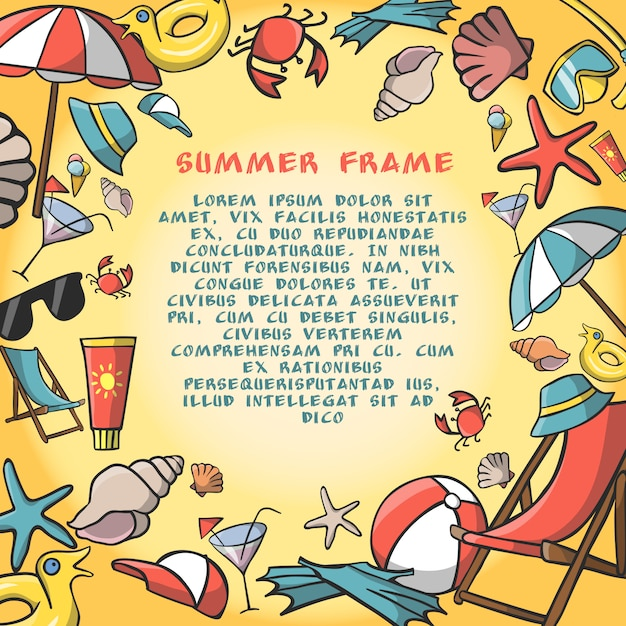 Summer vacation travel border frame template Free Vector