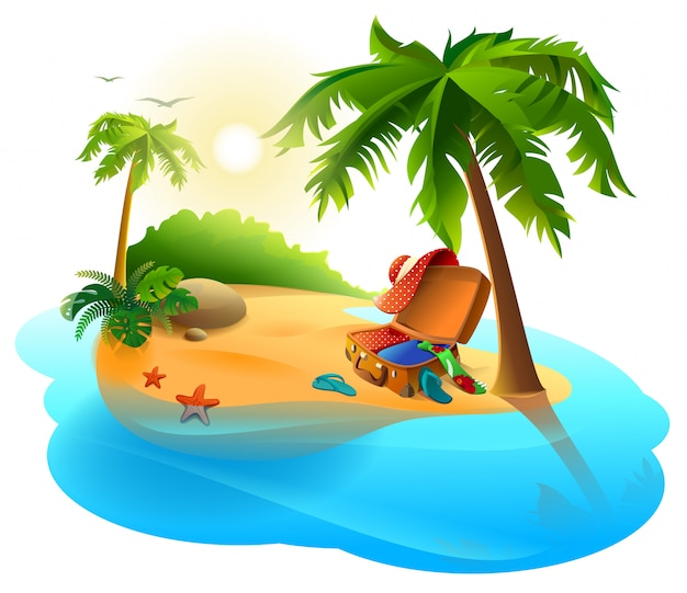 Summer vacation on tropical island. open suitcase on sand among palms Premium Vector