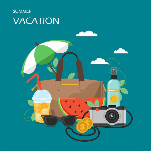 Summer vacation vector flat style design illustration Premium Vector