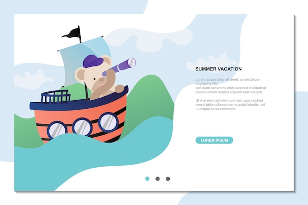 Summer vacation with cute bear, wallpaper for landing page Premium Vector