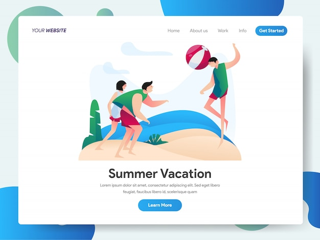 Summer vacation with group of people playing beach ball banner for landing page Premium Vector