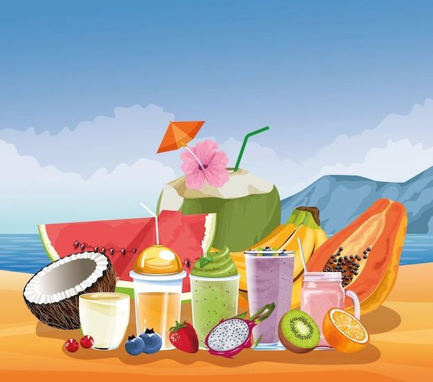 Summer vacations and beach in cartoon style Free Vector
