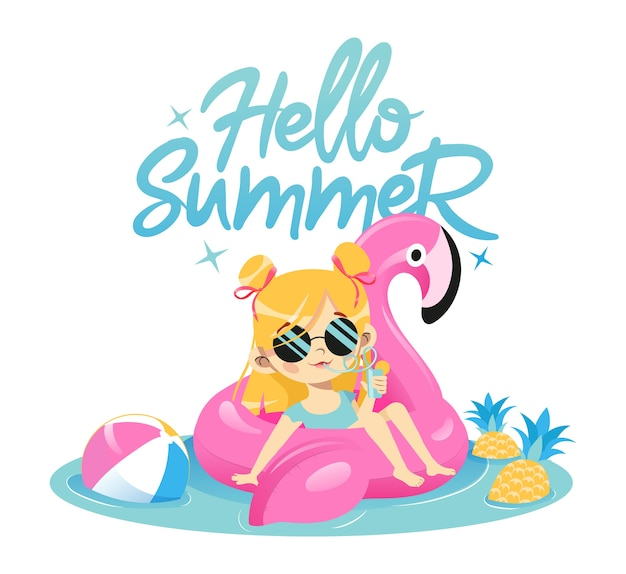 Summer vacations concept. fashion young girl is swimming in rubber pink flamingo in the pool drinking cocktail. cute hipster female character in glamour sunglasses. Premium Vector