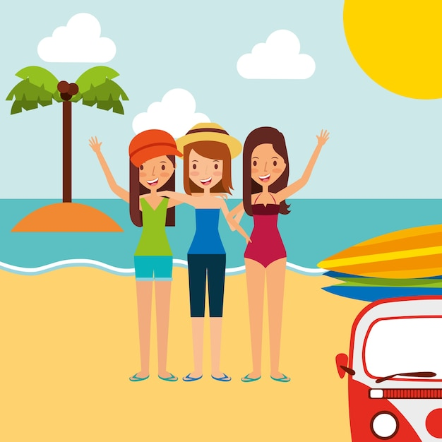 Summer Vacations Group Friends Girls In The Beach Premium Vector