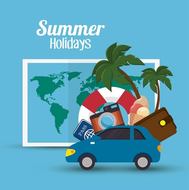 Summer vacations holiday illustration Free Vector