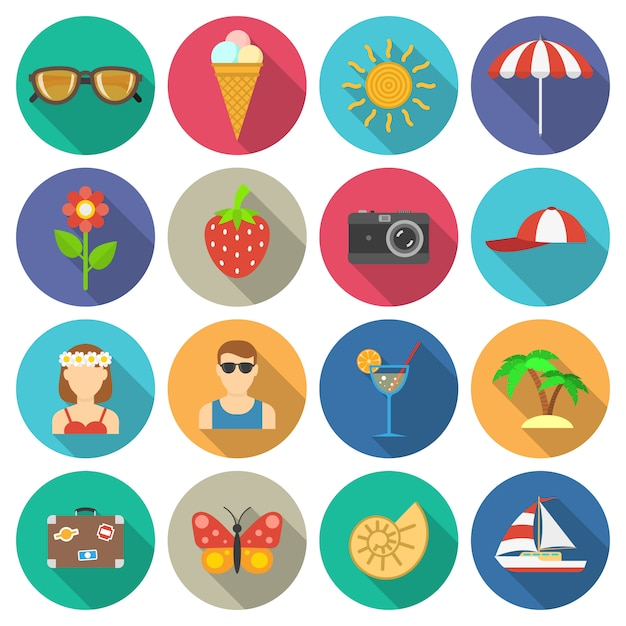 Summer and vacations icons set Free Vector