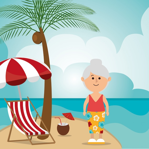 Summer, vacations and travel Free Vector