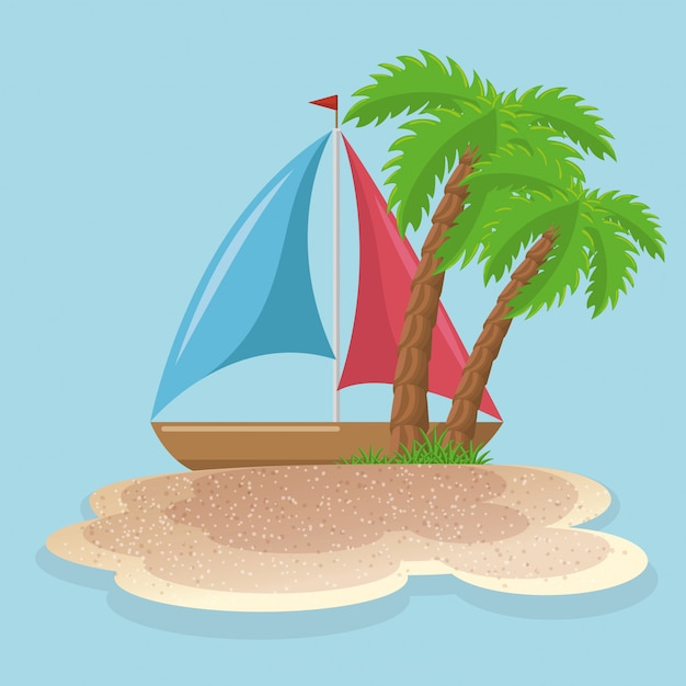 Summer vacattions set icons Free Vector