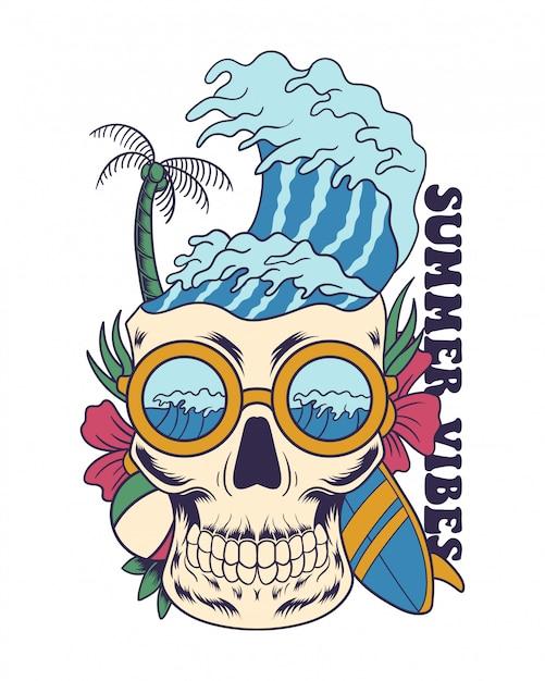 Summer vibes illustration Premium Vector