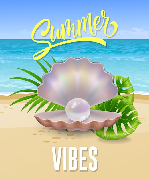 Summer vibes lettering with sea beach and pearl in shell. summer offer or sale advertising Free Vector