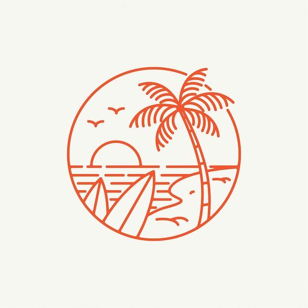 Summer vibes logo Premium Vector