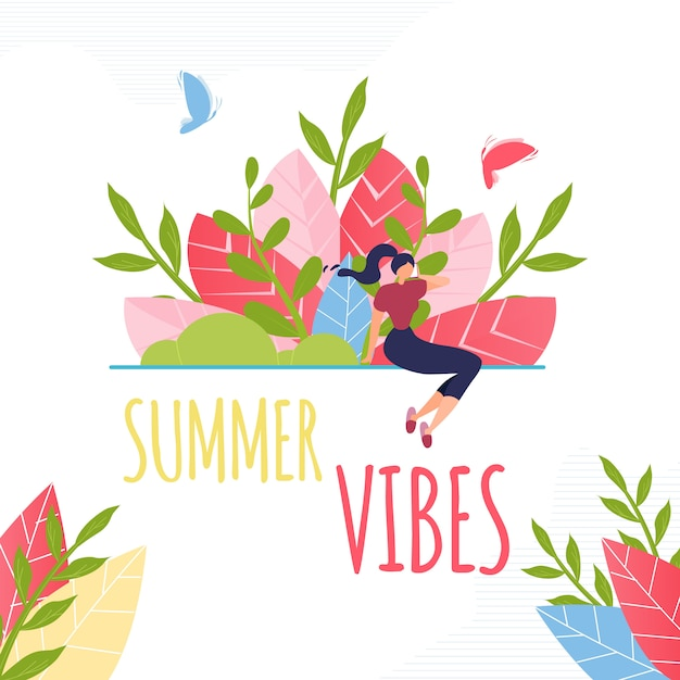 Summer vibes text and resting woman composition. Free Vector