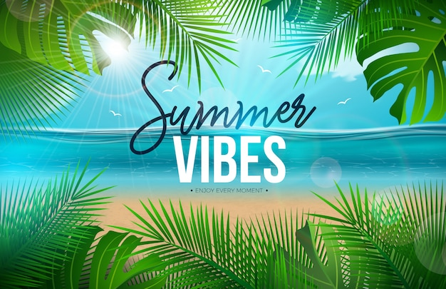 Summer vibes with palm leaves and ocean landscape Free Vector
