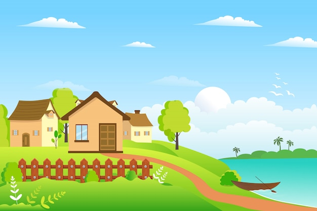 Летняя деревня ландшафтный дизайн Premium векторы