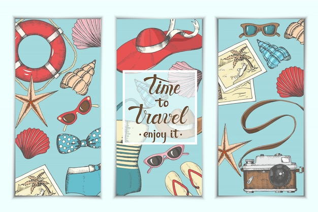 Summer vintage backgrounds with hand drawn symbols and objects Premium Vector